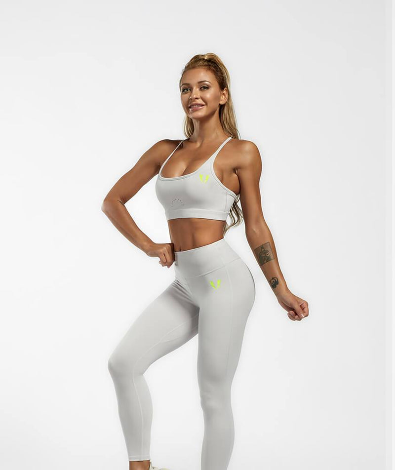 Firmabs Strappy Sports Bra - Gray - Firm Abs Fitness