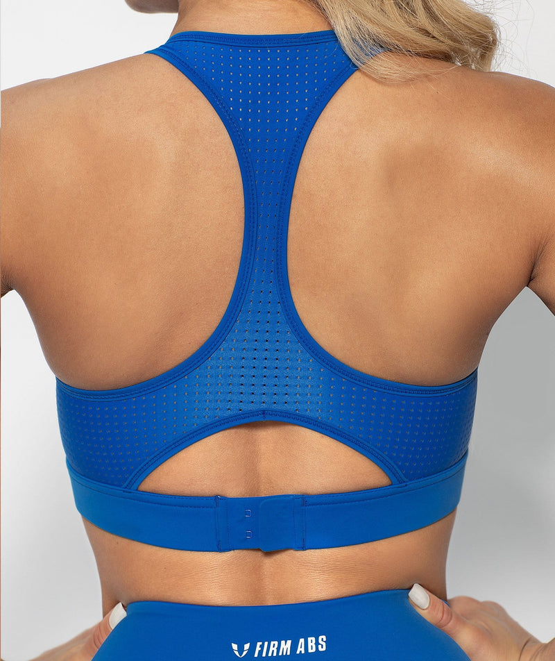 Mesh Racer Back Sports Bra - Blue - Firm Abs Fitness