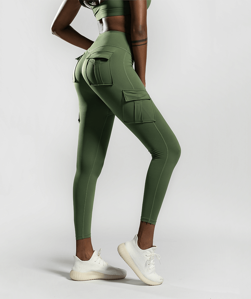 Solo Cargo Leggings - Spring Green - Firm Abs Fitness