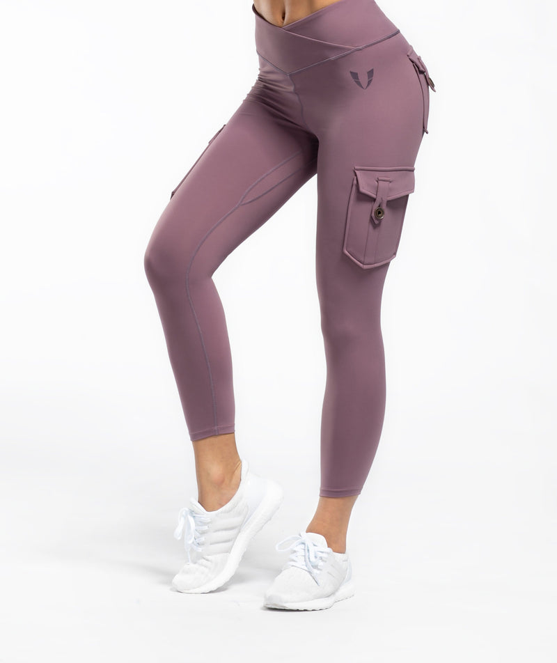 Cargo V Waist Cropped Leggings - Purple - Firm Abs Fitness