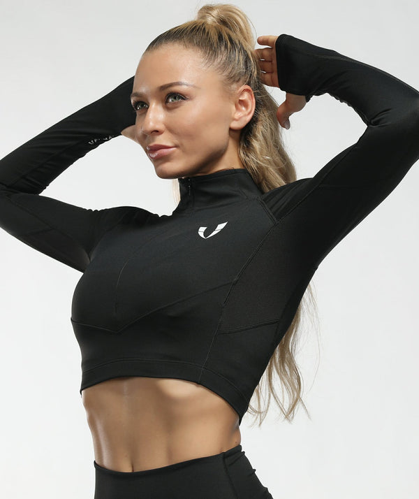 Zip Cropped Long Sleeve - Black - Firm Abs Fitness