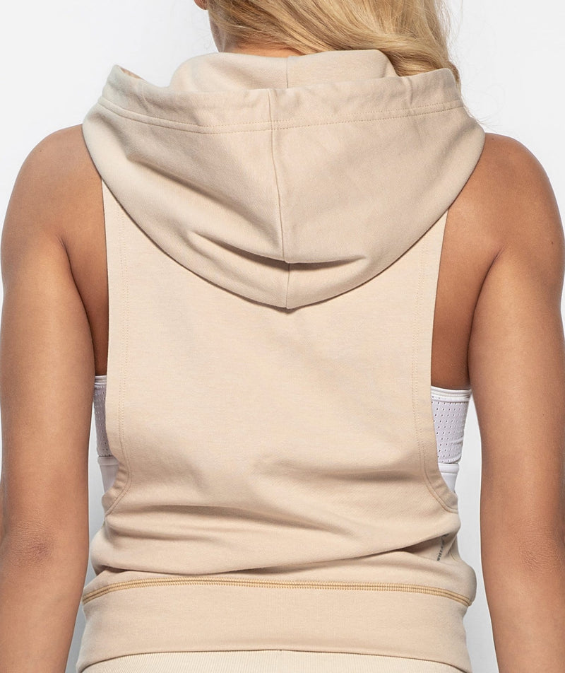 Hooded Drop Armhole Tank - Off white - Firm Abs Fitness
