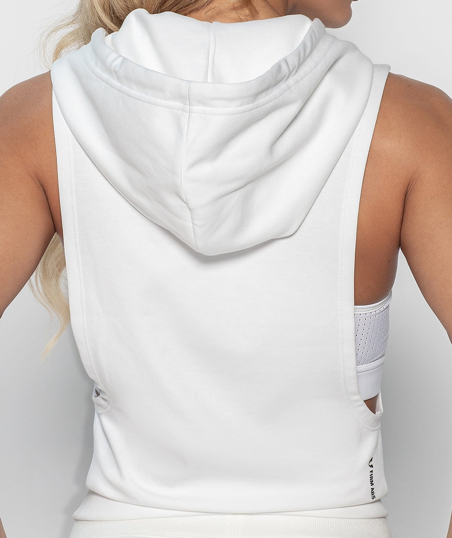 Hooded Drop Armhole Tank - White - Firm Abs Fitness