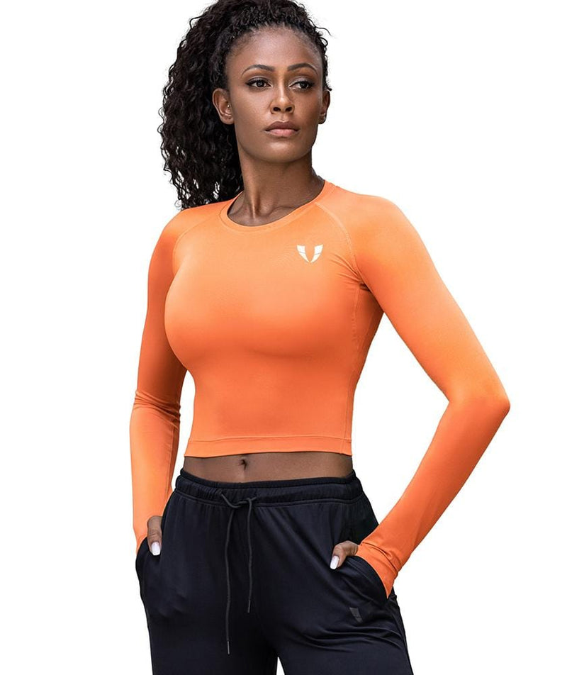 Firmabs Cropped Long Sleeve Shirt - Orange - Firm Abs Fitness