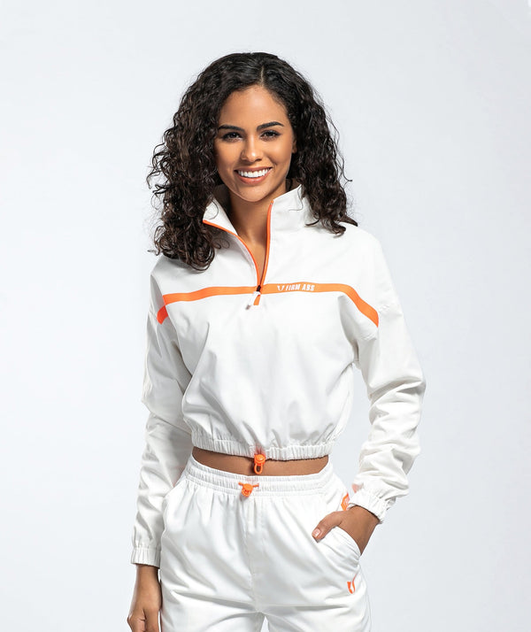 Woven Sports Jacket - White - Firm Abs Fitness