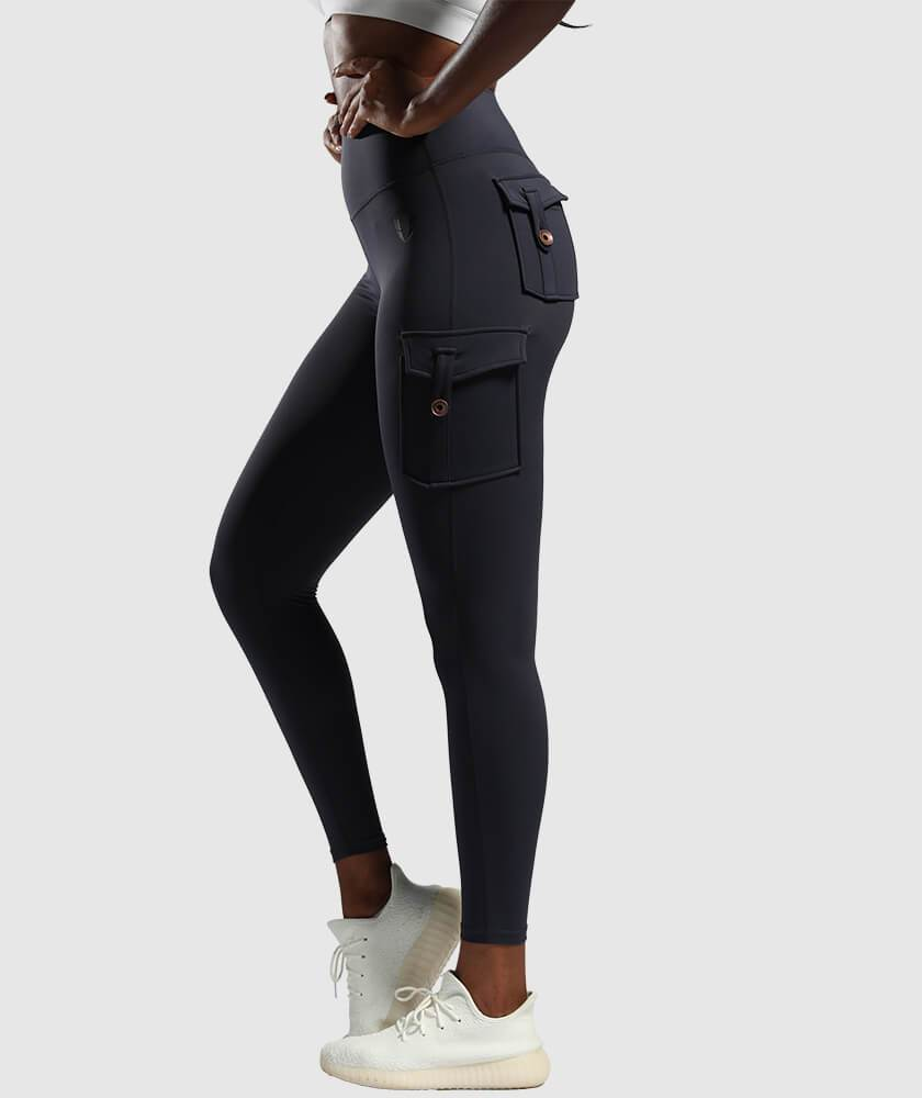 Cargo Pockets Leggings - Navy Blue - Firm Abs Fitness