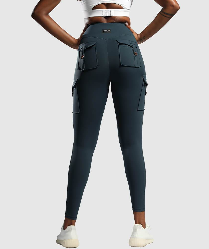 Cargo Pockets Leggings - Dark Blue - Firm Abs Fitness