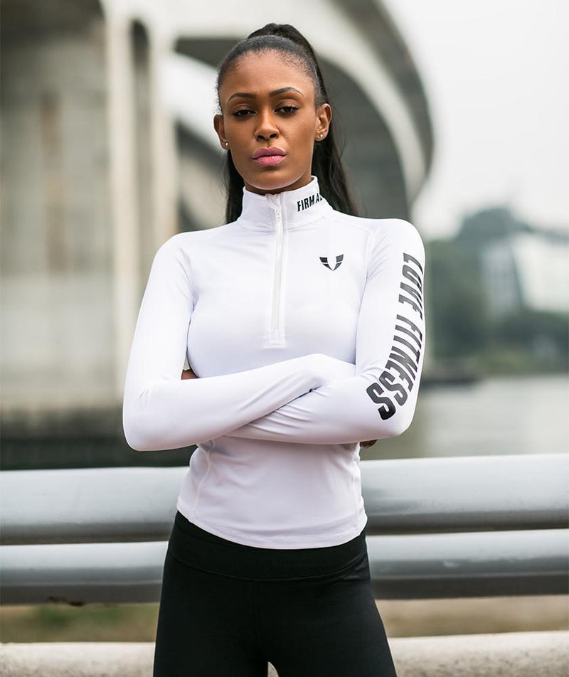 Lightweight Long Sleeve - White - Firm Abs Fitness