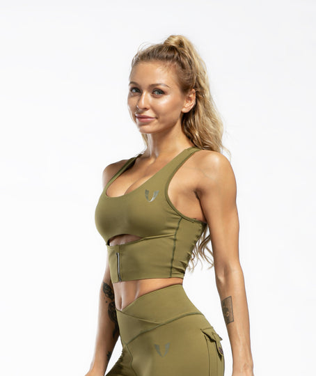 Scoop neck Sports Bra - Green - Firm Abs Fitness