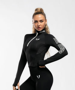 Swift 1/2 Zip Long Sleeve - Black - Firm Abs Fitness