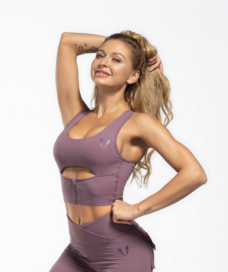 Scoop neck Sports Bra - Purple - Firm Abs Fitness