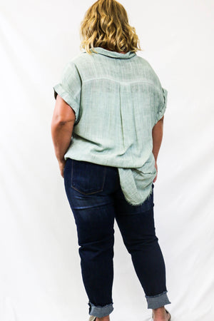 Curvy Dusty Mint Linen Button Up with Frayed Hemline