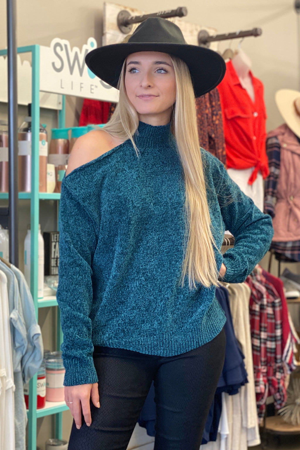 Cold Shoulder Chenille Sweater-Teal