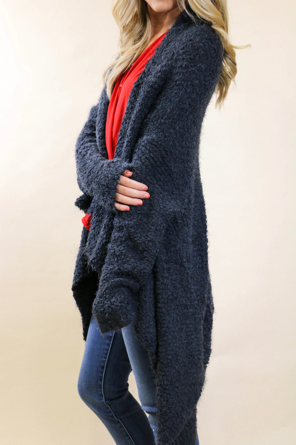 Charcoal High Low Hem Open Sweater