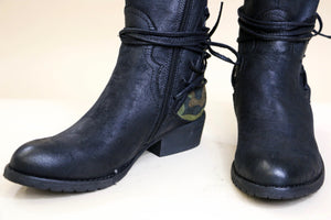 Very Volatile Lace Up Tall Black Boots with Camo Accent