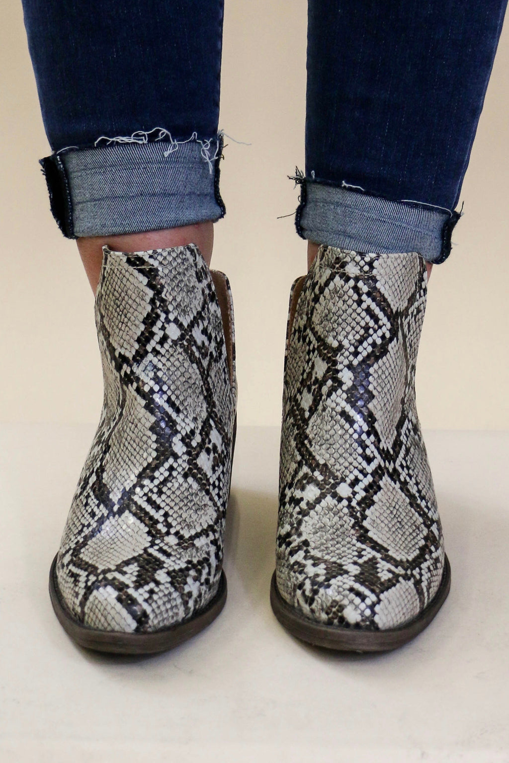 Volatile Chronicle Snake Print Pull On Bootie