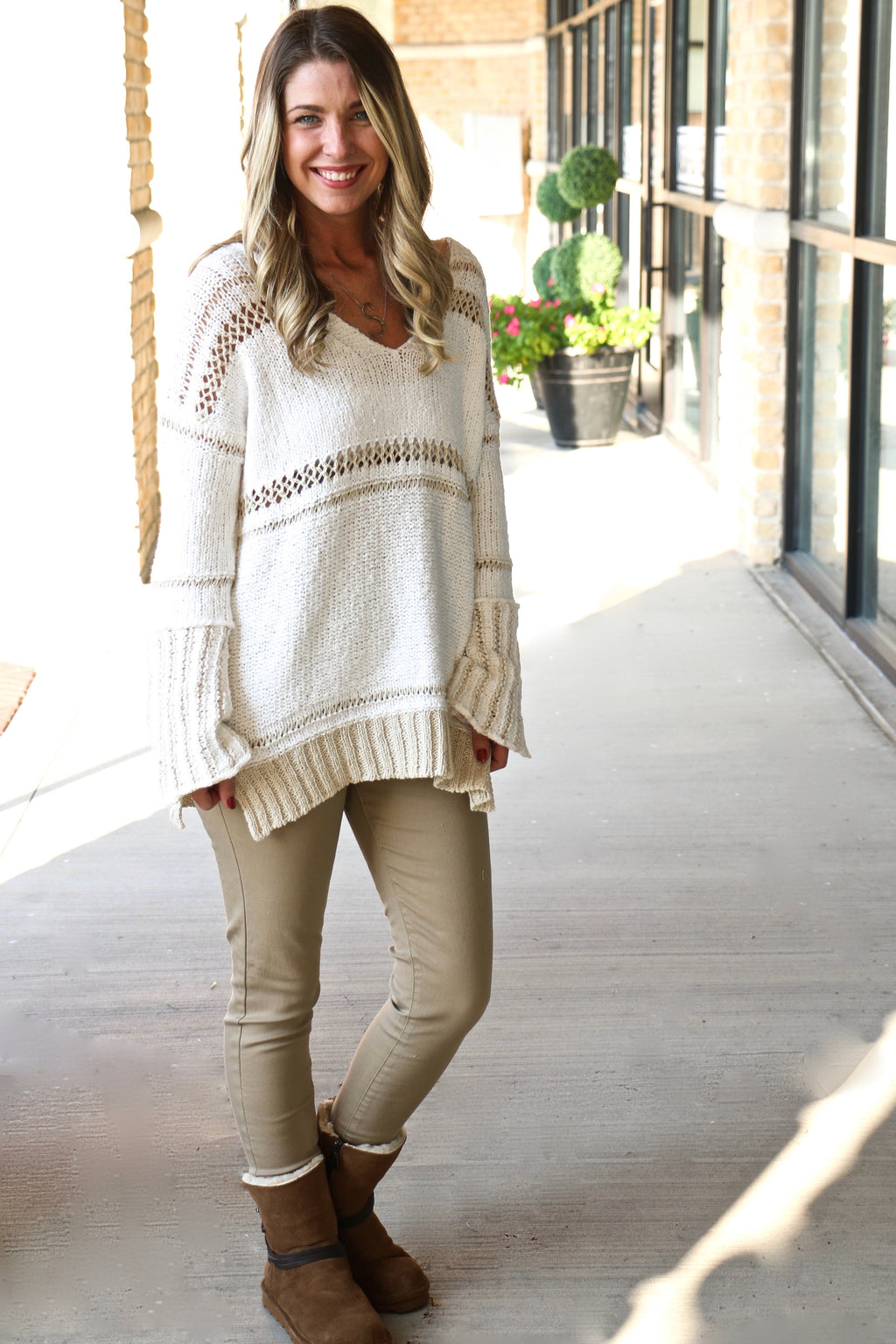 Elan White and Cream Sweater