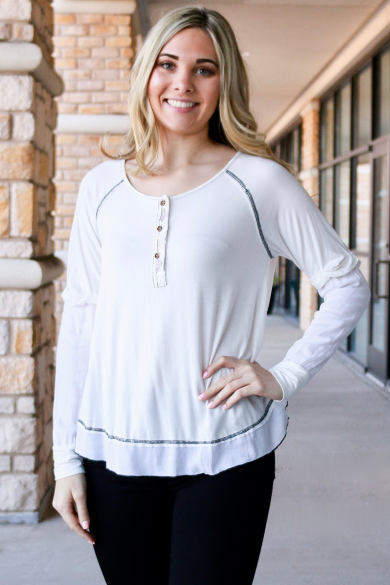 Ivory Contrast Stitch Long Sleeve Top