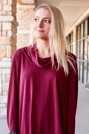Burgundy Cowl Neck Blouse