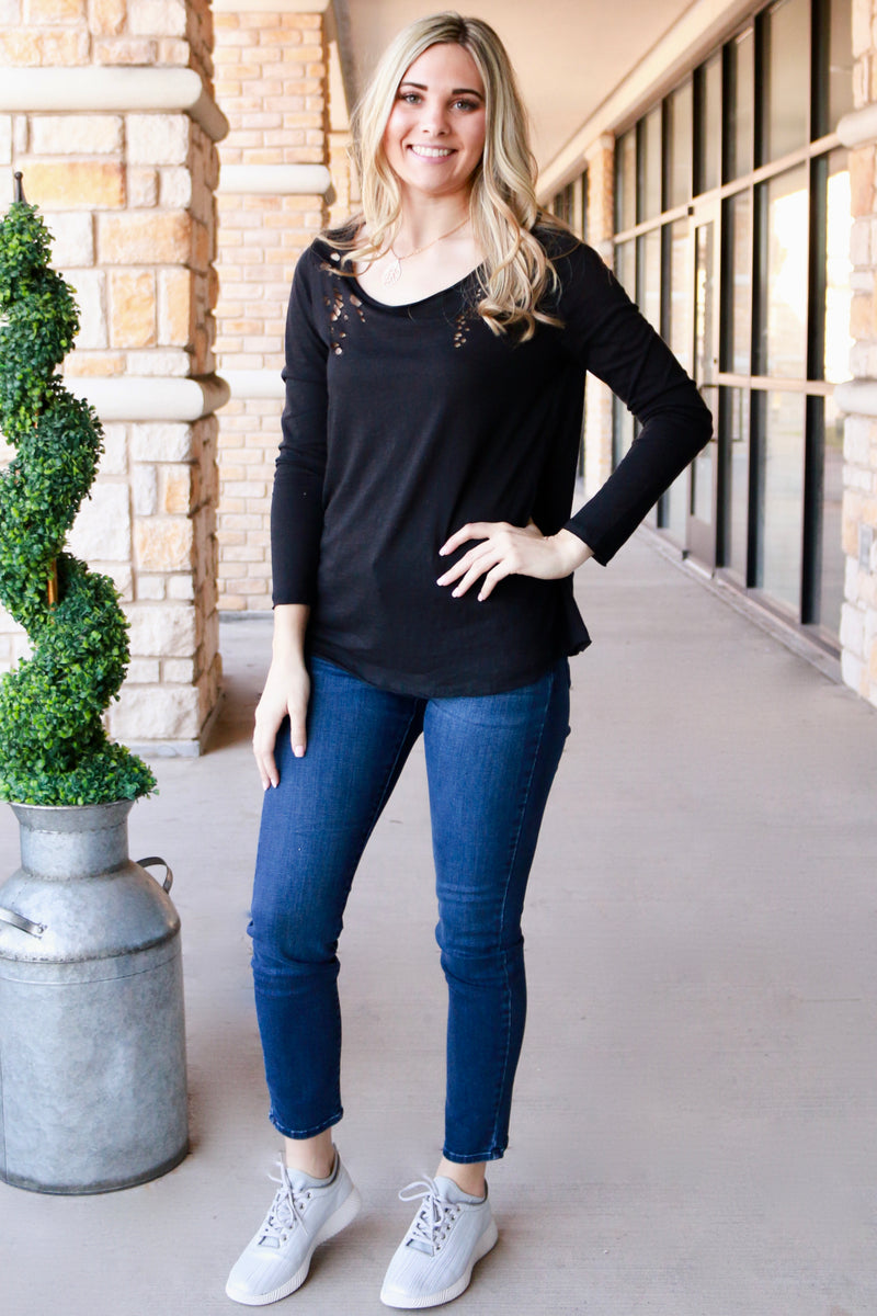 Distressed Long Sleeve Scoop Neck