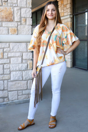 Bright Print Ruffle Sleeve Top