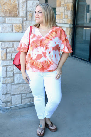Curvy Bell Sleeve V-Neck Blouse