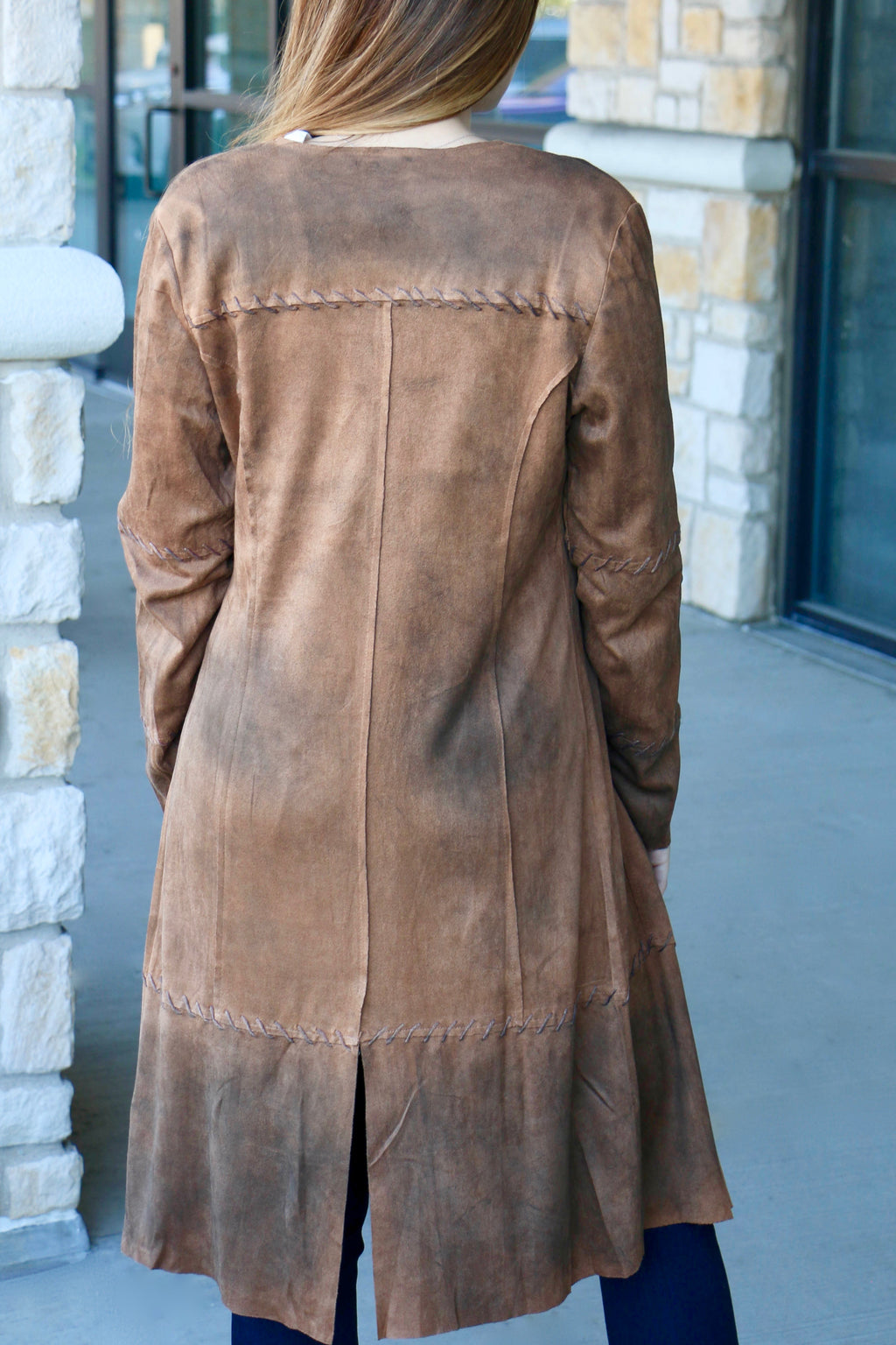 Suede Stitched Duster