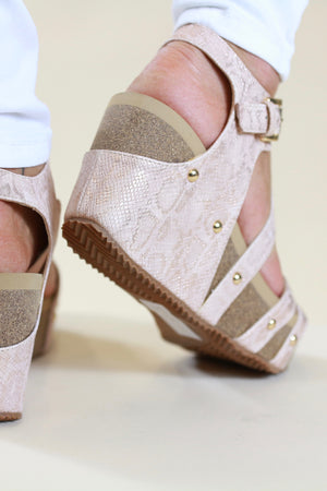 Very Volatile Rose Gold Strappy Wedge Sandal