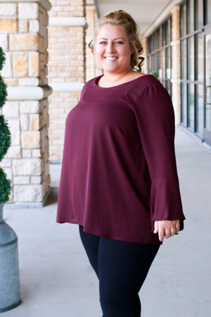 Curvy Burgundy Bell Sleeve Top