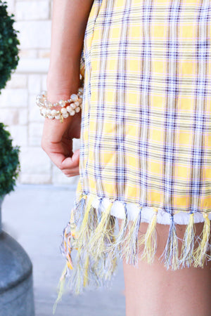 Yellow Plaid Frayed Cardigan