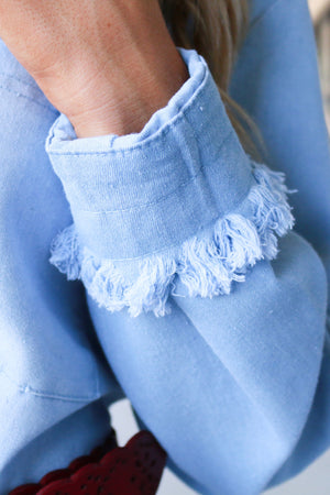 Long Sleeve Denim Dress with Frayed Edges