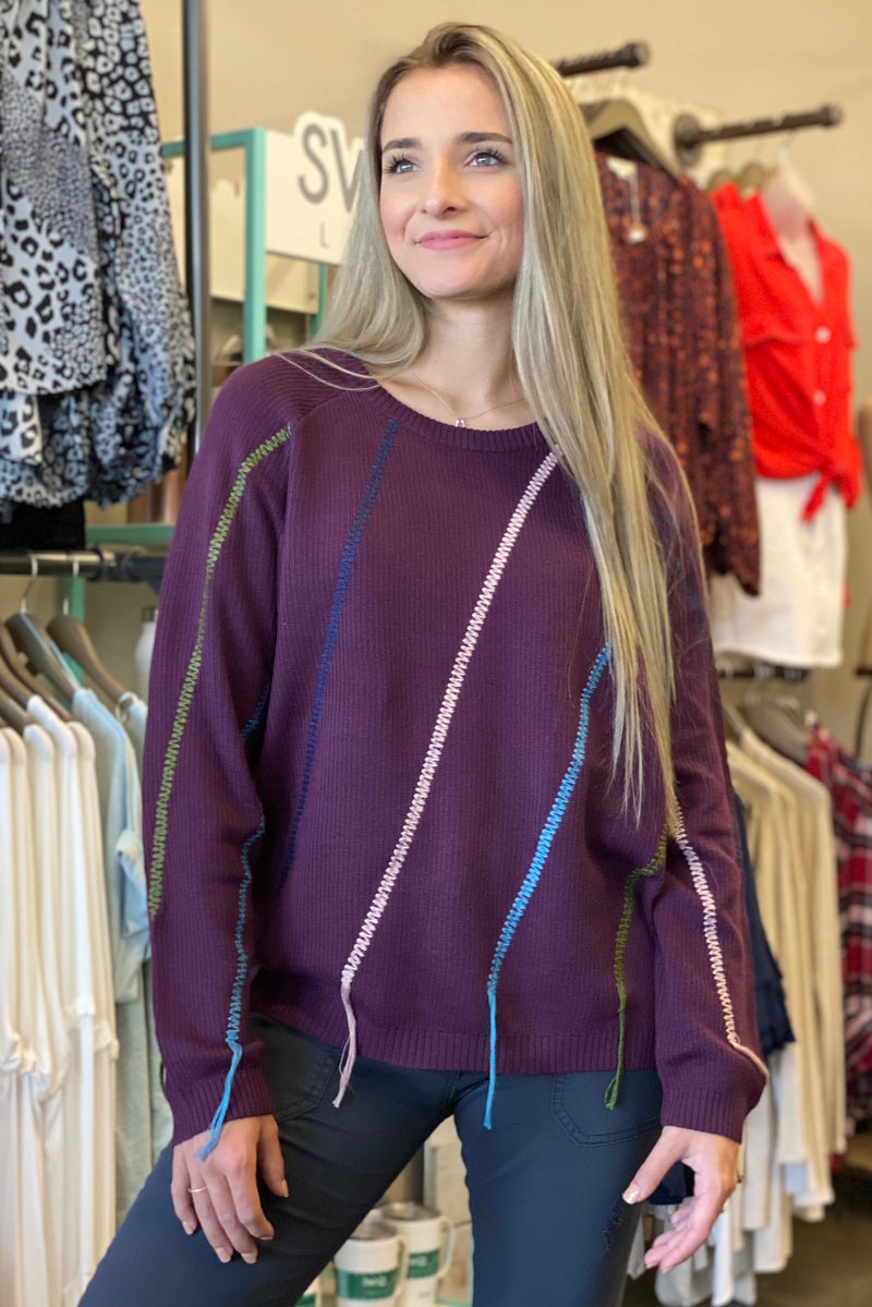 Dear John Braided Purple Sweater