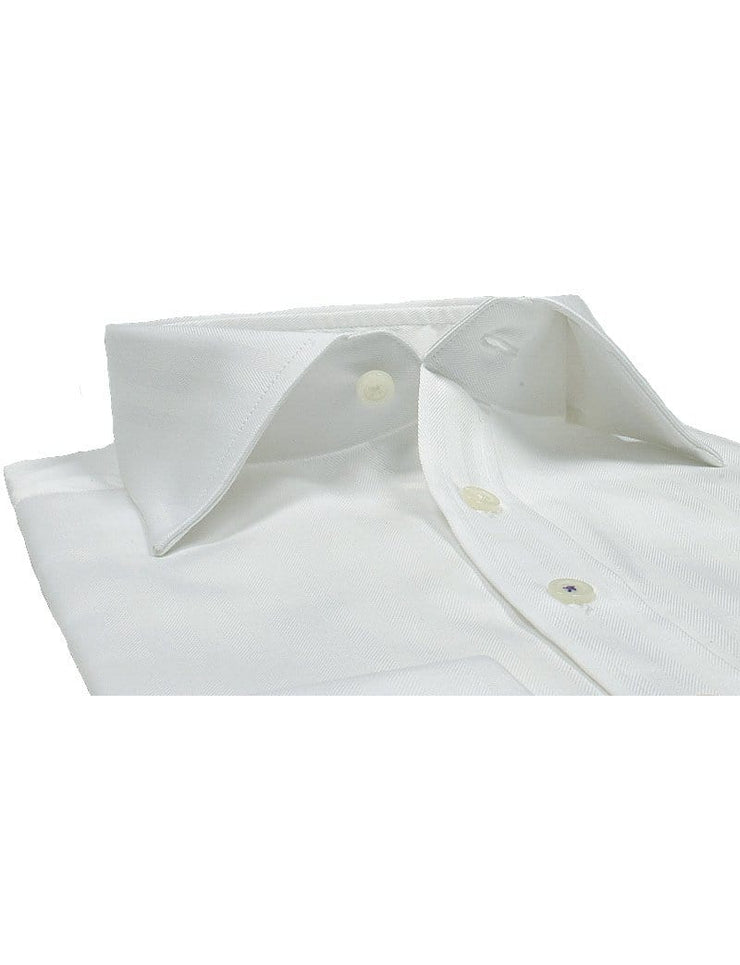 Mark Stephen Regular Fit White Herringbone Shirt