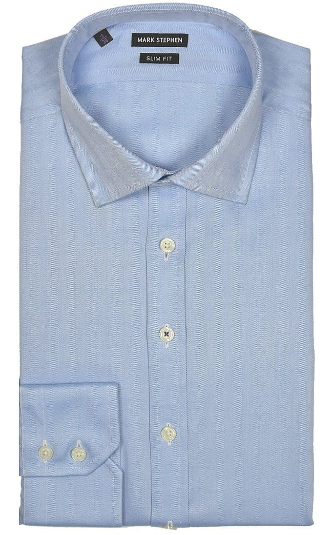 Mark Stephen Slim Fit Blue Herringbone Shirt