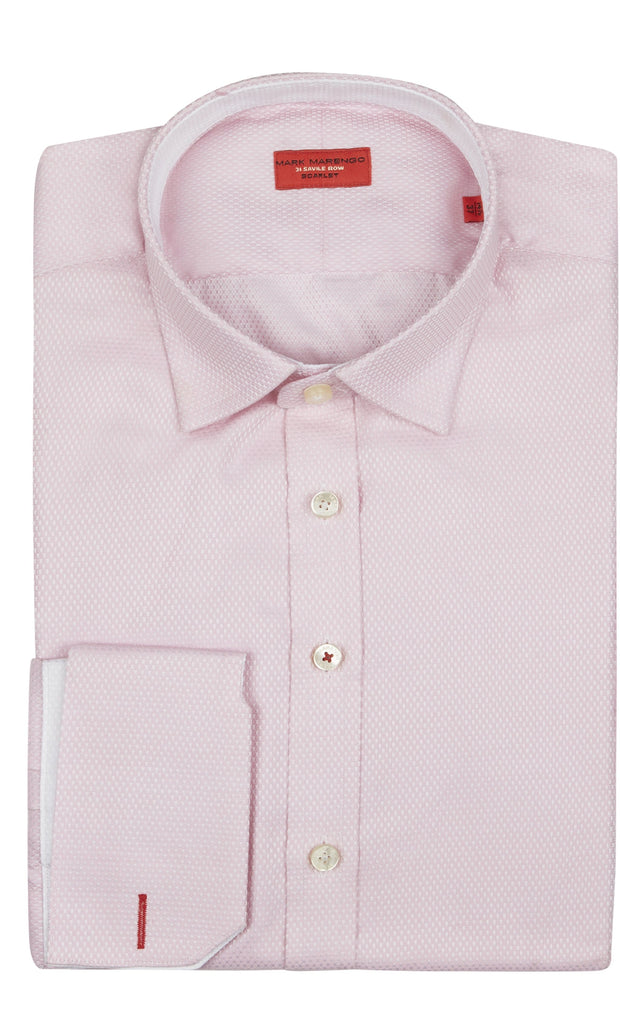 Regular Fit Pink Basket Weave  Shirt