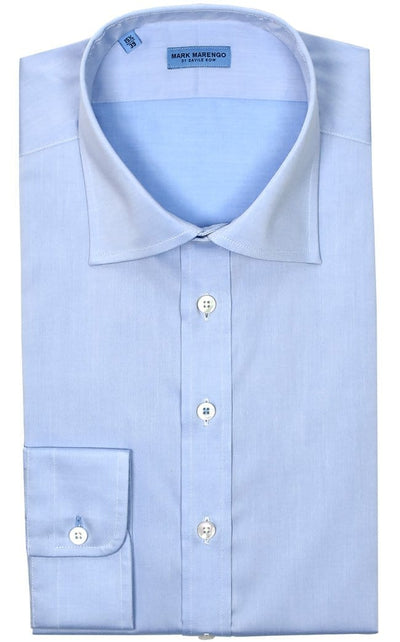 Regular Fit Blue Twill Shirt - Mark marengo