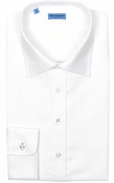 Regular Fit White Fine Herringbone Oxford Shirt - Mark marengo