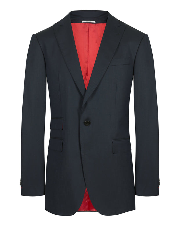 Blue Herringbone Peak Lapel
