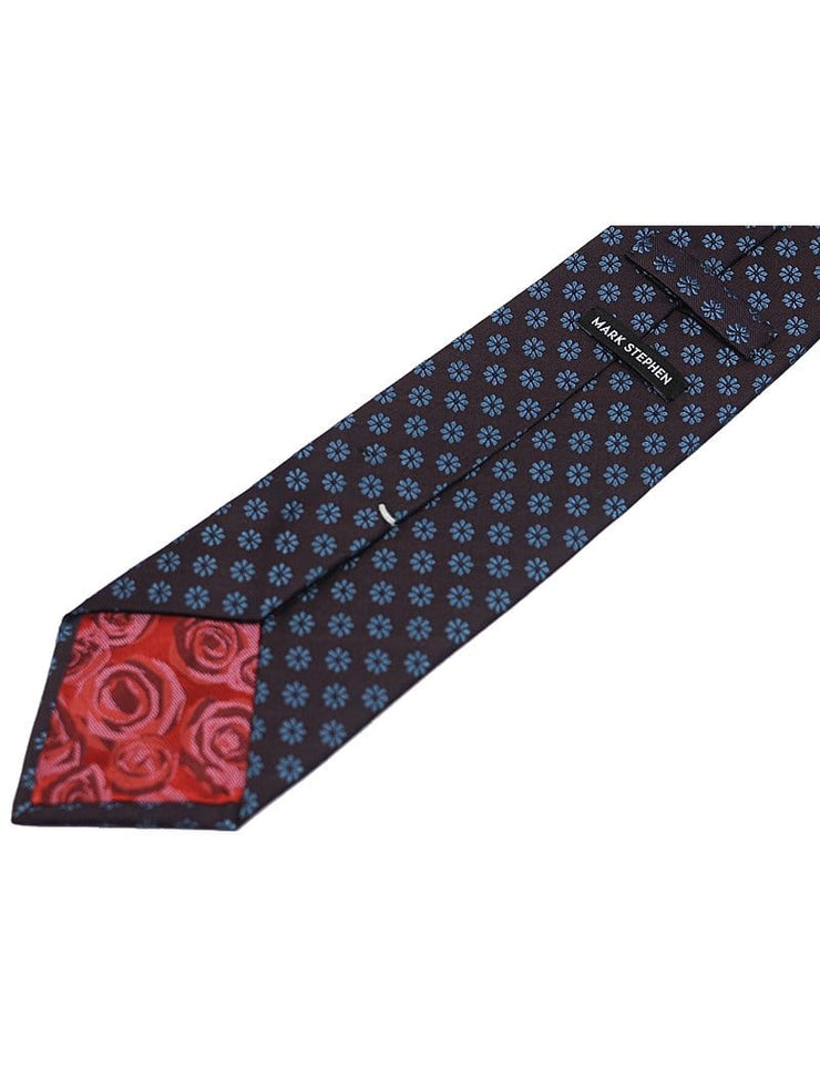 Mark Stephen Burgundy/Blue Daisy Tie