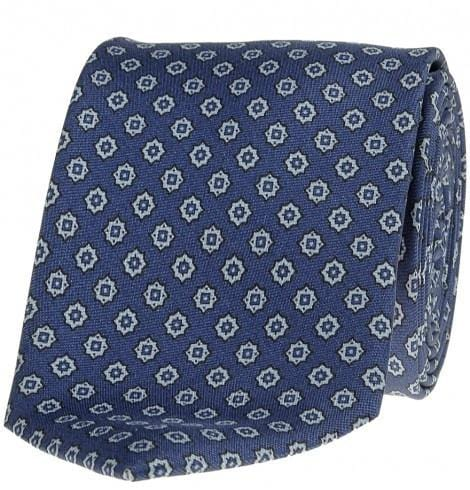 SL Foulard Printed Silk Tie. Star of David - Dark Blue & Light Blue - Mark marengo
