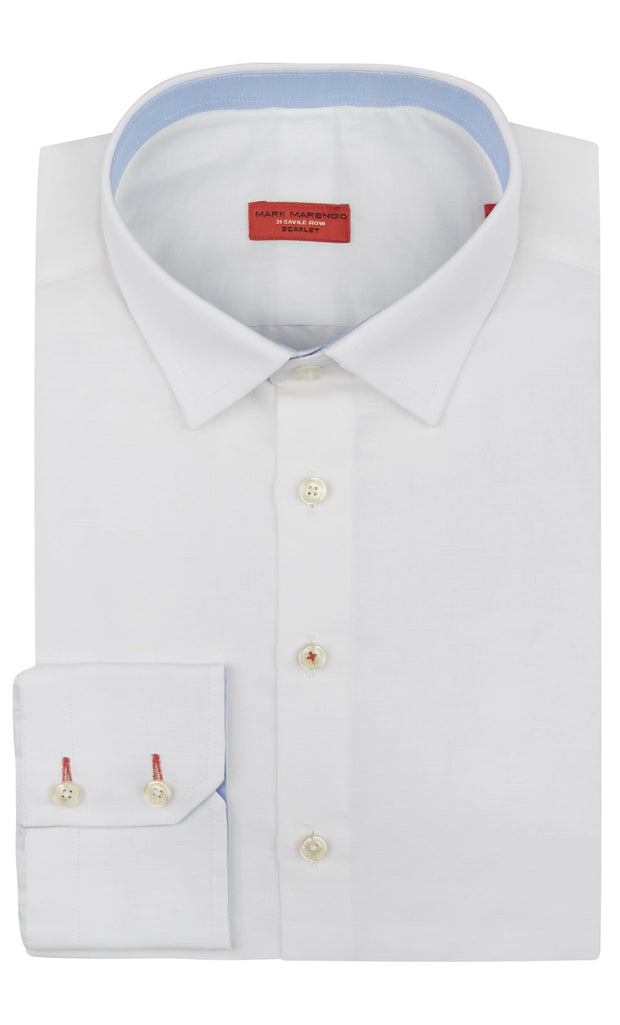 Regular Fit White Linen Shirt