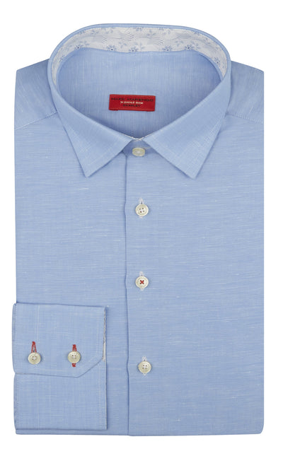 Regular Fit Blue Linen Shirt