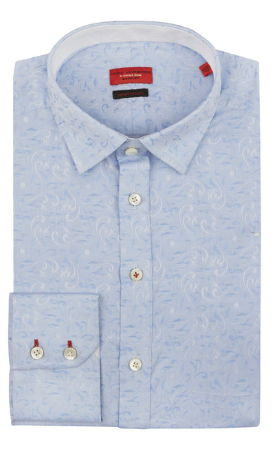 Slim Fit Blue Paisley Shirt