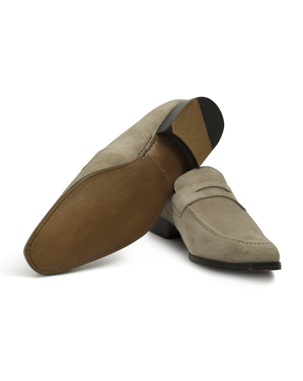 Beige Suede Hand-Stitched Penny Loafer