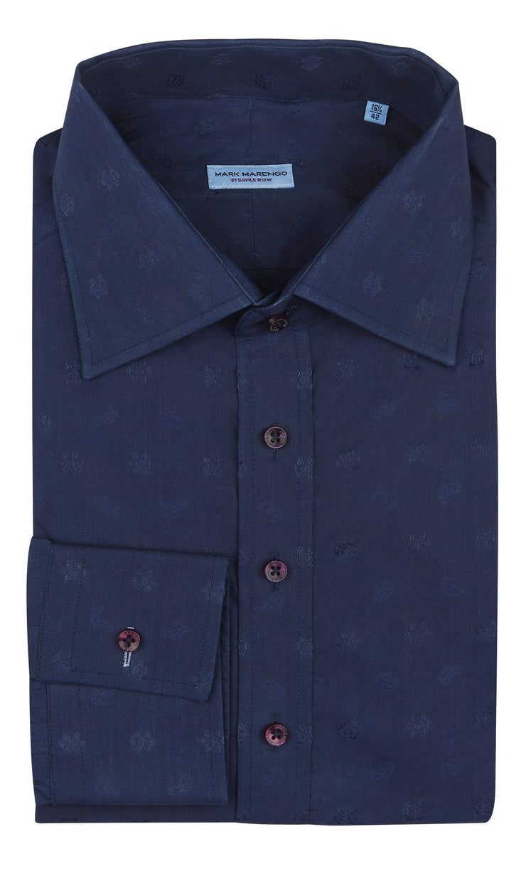 Regular Dark Blue Flower Pattern Shirt