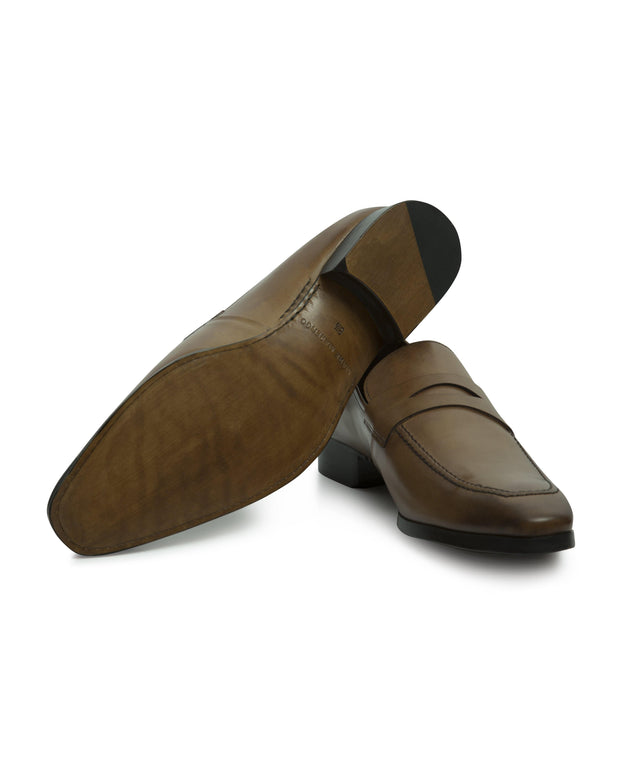Camel Hand-stitched Penny Loafer