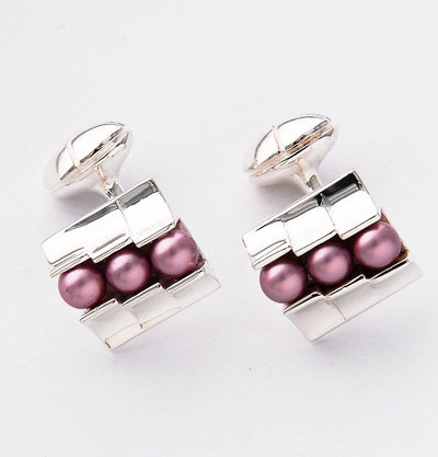 Silver Pink Trio Cufflinks - Mark marengo