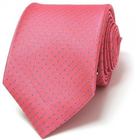 SL Jacquard Tie - Pink with Blue Polka Dots - Mark marengo