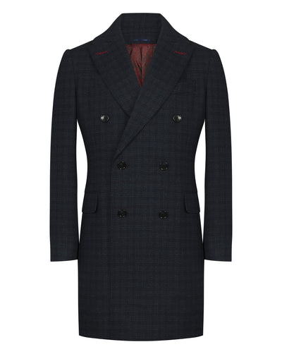 Navy Twill Micro Check Overcoat