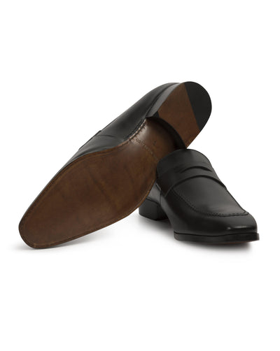 Black Hand-Stitched Penny Loafer